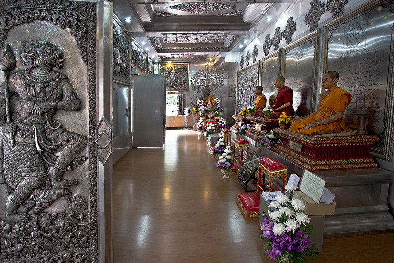 Inside the viharn of Wat Muen San, also known as the silver temple, in Chiang Mai, Thailand