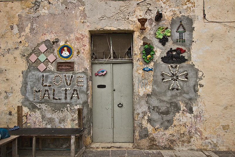 House in the fishing village of Marsaxlokk on the island of Malta shows its patriotism