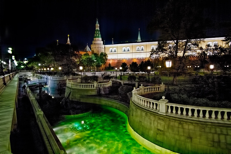 Fountains of Alexandrovsky Gardens by night, with illuminated Kremlin as a backdrop