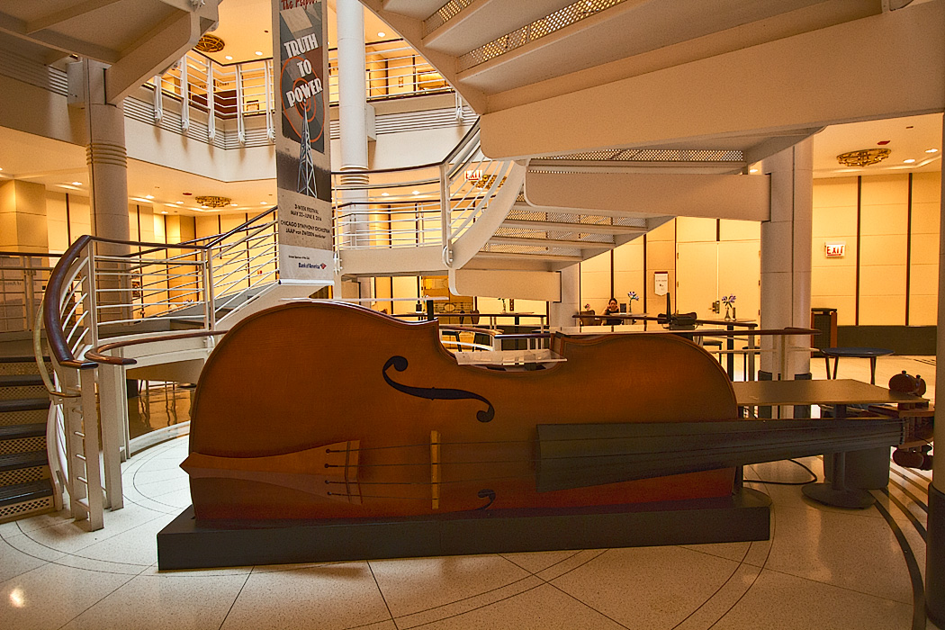 Violin shaped bar on the ground floor of the Chicago Symphony Orchestra in downtown Chicago