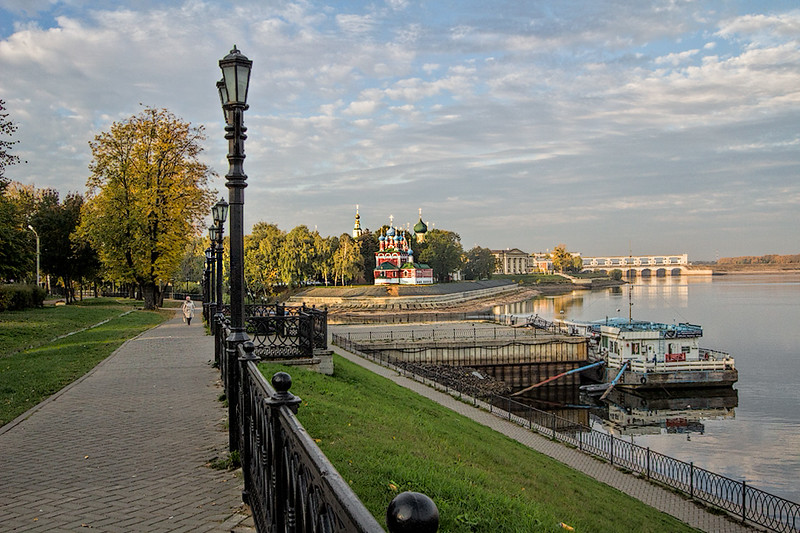 Harbor and St. Dimitry of the Blood Cathedral in Uglich, Russia