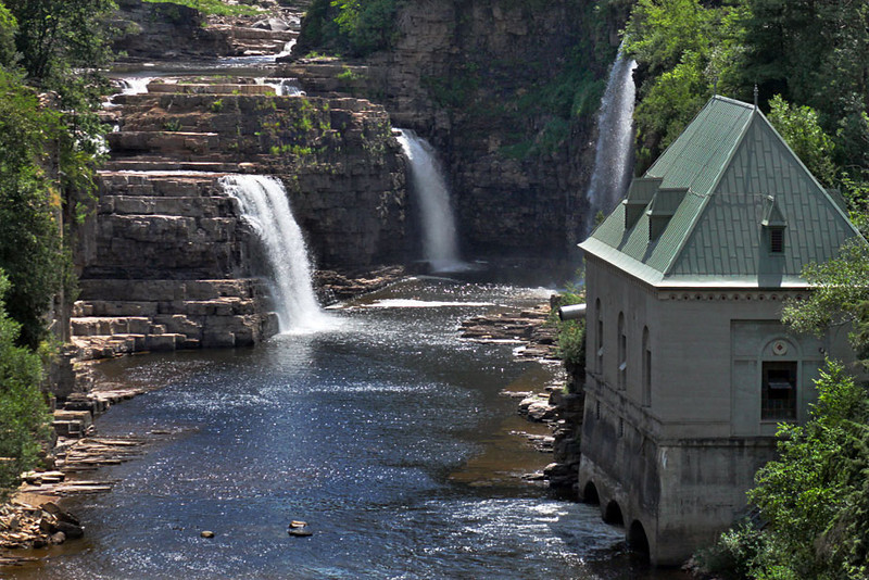 Triple falls on AuSable River in Keeseville, New York