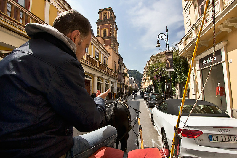 Horse-drawn carriage ride is a great way to see the sights in Sorrento, Italy