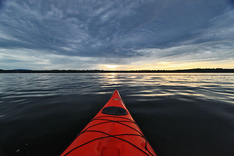 Sunset kayak trip on Lake Champlain in Valcour, New York