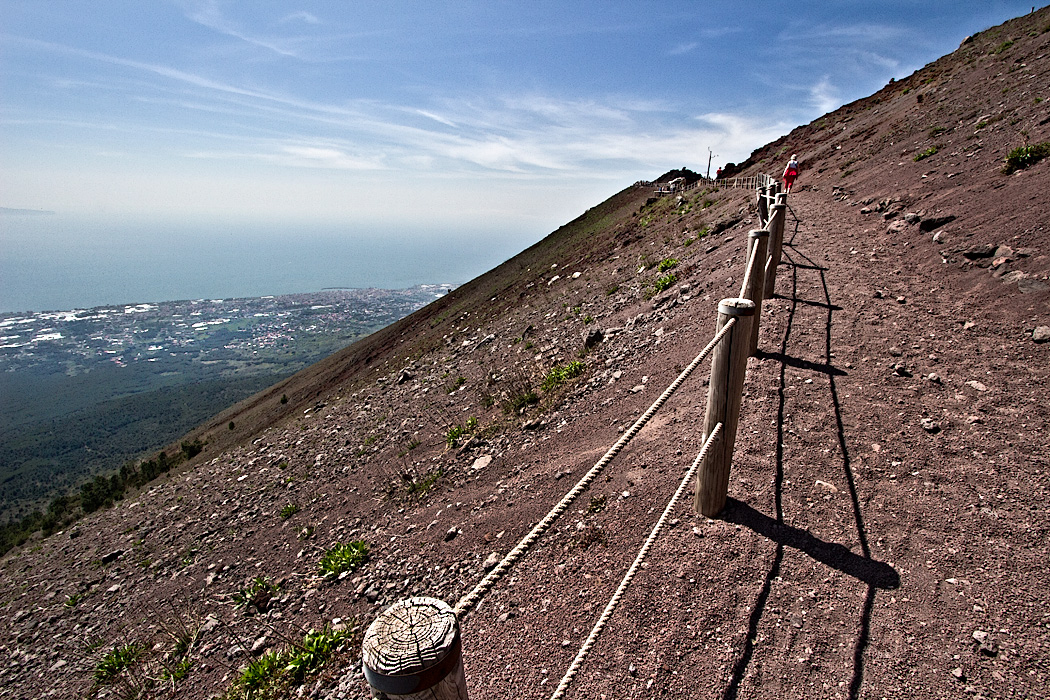 Cinder trail leading to the top of Mount Vesuvius in Italy, the volcano that erupted in 79 AD, burying Pompeii