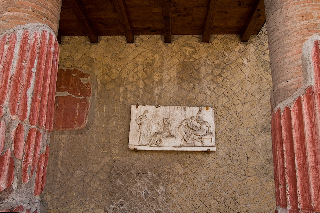 At Herculaneum, relief of the Myth of Telephus shows son of Hercules, mythical founder of city