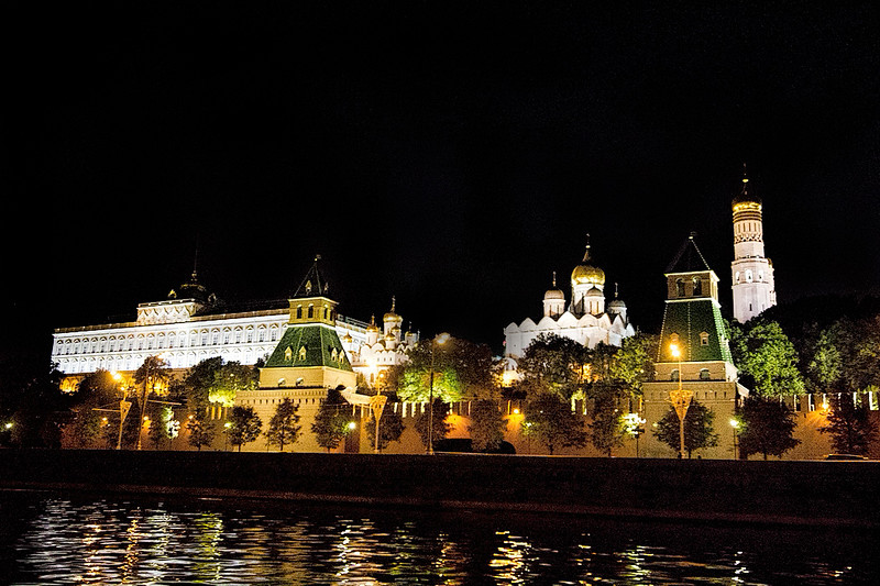 The Russian Kremlin by night, seen from the Moscow River