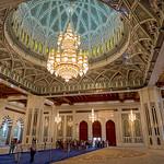 Interior of the lavish Sultan Qaboos Grand Mosque in Muscat, Oman