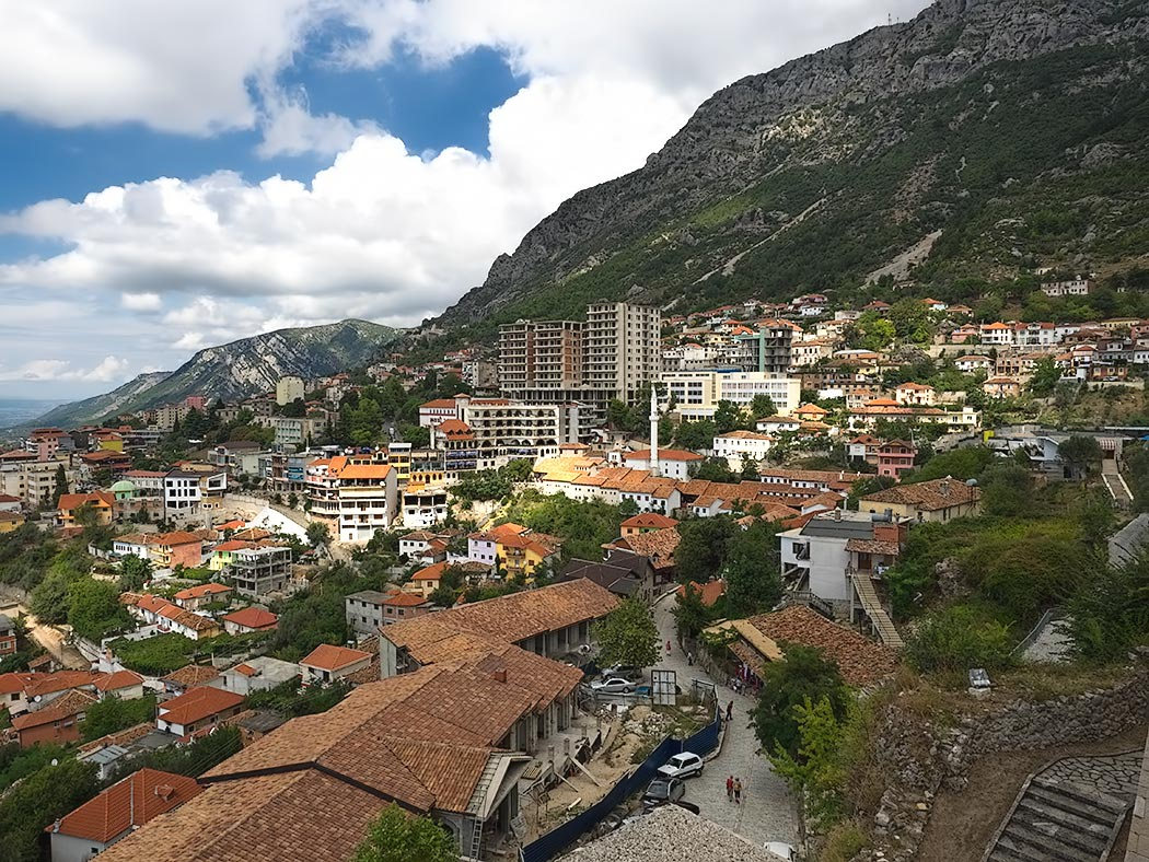 Sweeping view of the city of Kruja, Albania from the National Skanderbeg Museum