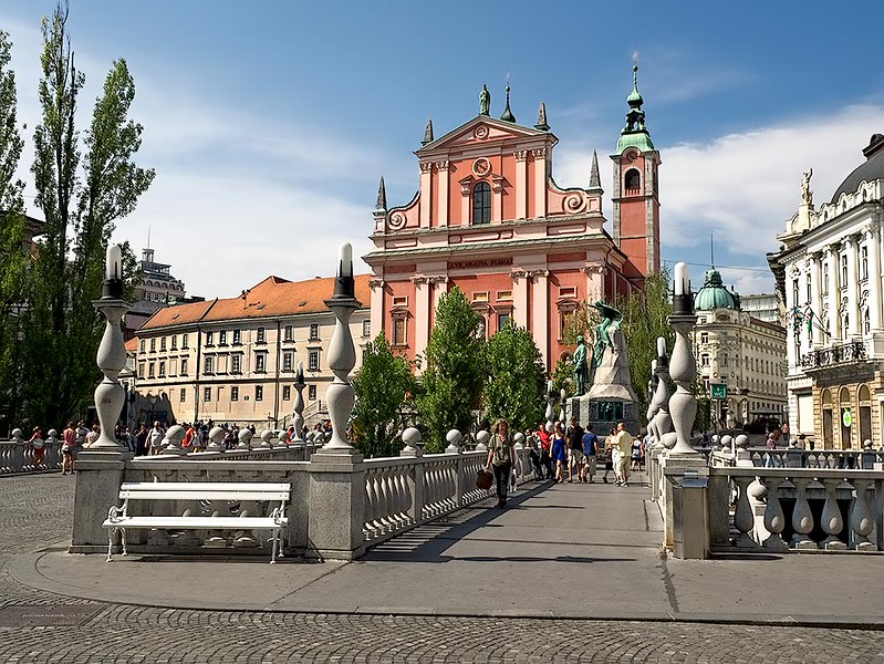 Preseren Square in Ljubljana, the capital city of Slovenia, features the Triple Bridge and the Franciscan Church of the Annunciation