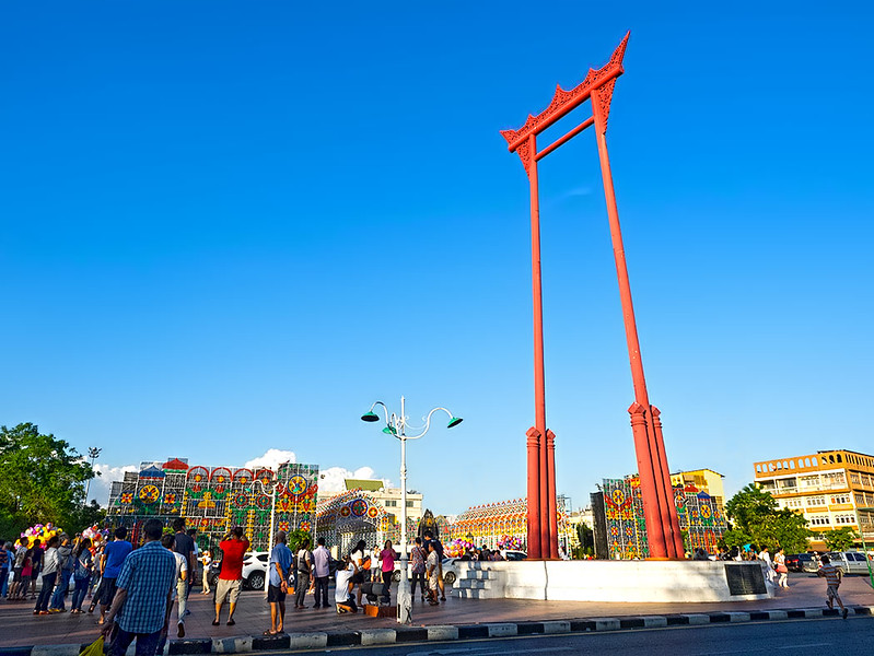 The Giant Swing in Bangkok, Thailand, stands in front of the City Hall. It was formerly used in a Brahman Hindu ceremony and later dedicated to the Thai King.
