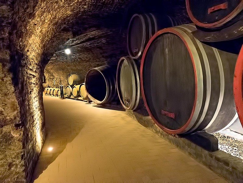 Wine casks in the cellars beneath the Benedictine Abbey of Pannonhalma, in northern Hungary