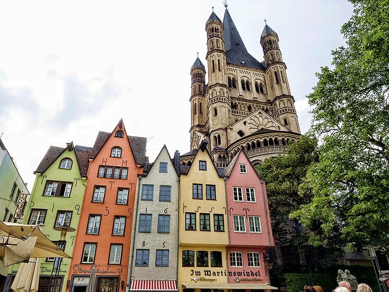 Great St. Martin Church towers over Fishmarket Square in Cologne, Germany