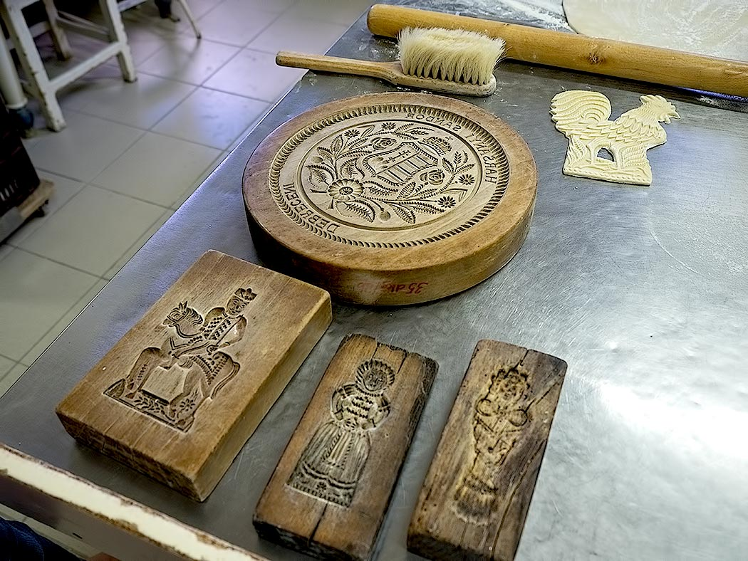Ancient hand-carved molds used to make honey cakes in Debrecen, Hungary