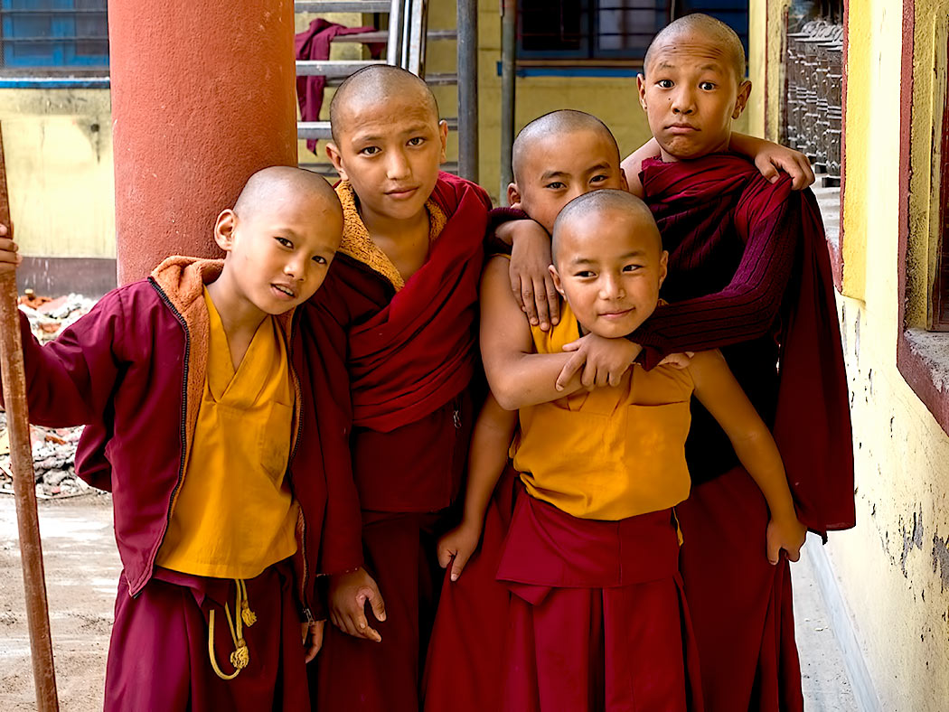 Novice monks at the Sakya Tharig Monastery near the UNESCO World Heritage Boudhanath Stupa in Kathmandu, Nepal