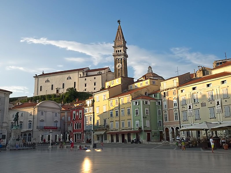 Tartini Square in the coastal town of Piran, Slovenia, was named for its most famous citizen, violinist Giuseppe Tartini. A bronze statue of the musician can be seen at left.