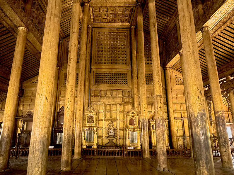 Interior of Shwenandaw Monastery Palace in Mandalay, Myanmar is covered in real gold foil