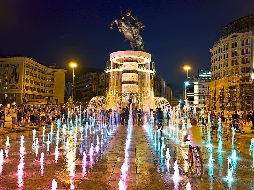 Centerpiece of Skopje, Macedonia is Macedonia Square, dominated by the
