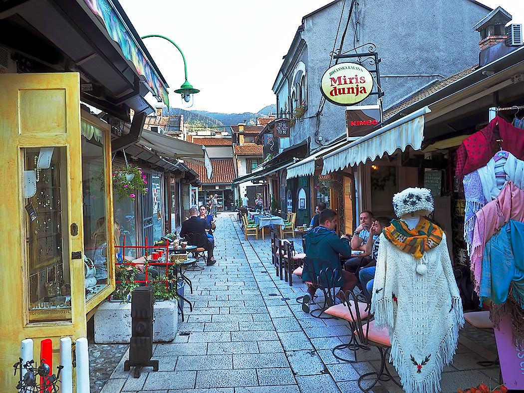 Typical street in the old Ottoman Bazaar area of Sarajevo, Bosnia-Herzegovina. Miris Dunja became my preferred place to have coffee or tea each day, along with dessert. Bosnians take numerous breaks each day to have tiny cups of strong but delicious coffee.