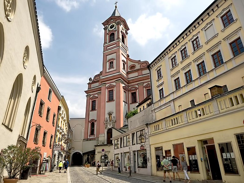 Rindermarkt Strasse in Passau, Germany. The Old Town is known for its beautiful Gothic and Baroque architecture.
