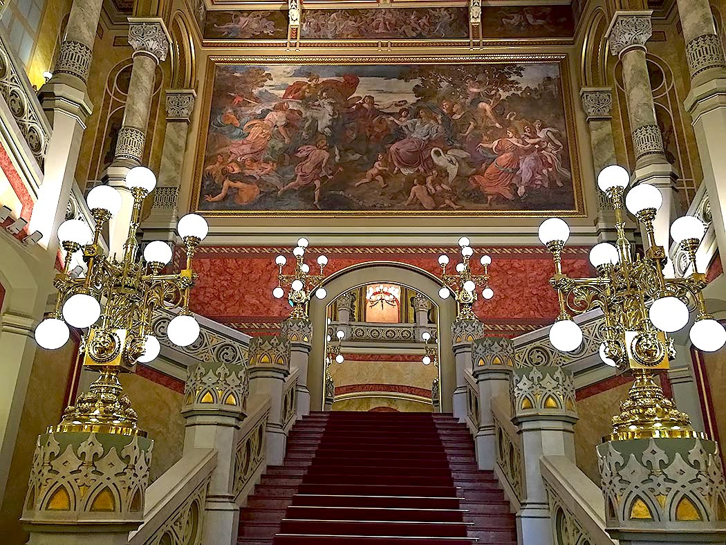 Interior of the newly restored, gorgeous Vigado Palace in Budapest, Hungary