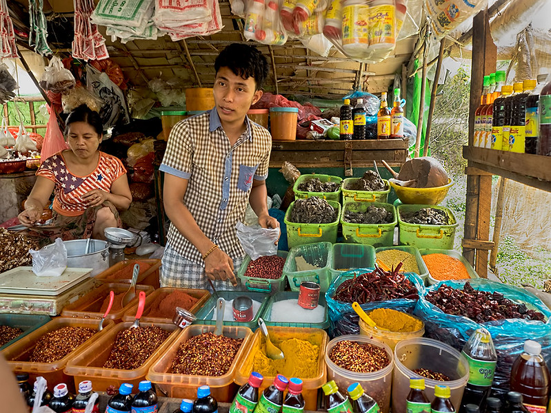 Chilies and spices of all kinds are sold at the Dala market, a small village across the river from downtown Yangon, Myanmar