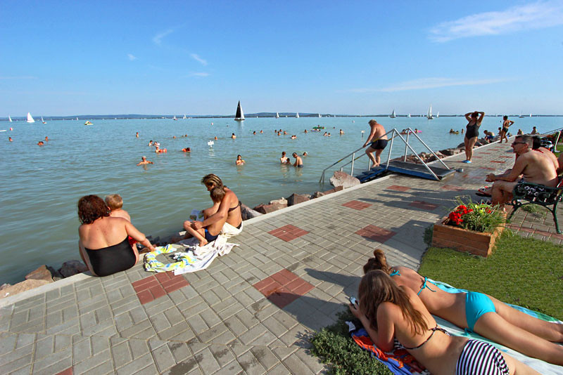 Public beache in the village of Revfulop in Lake Balaton, Hungary's summer playground