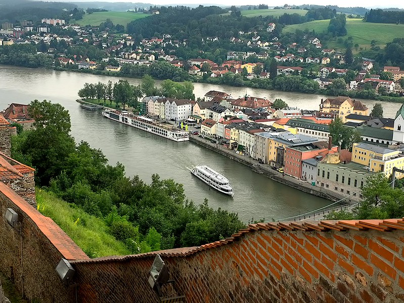 In Lower Bavaria, the town of Passau, Germany, is located at the confluence of the Danube, Ilz, and Inn Rivers. Note the muddy color of the Inn River at the top, which carries silt from Alpen meltwaters, as opposed to the green Danube in the foreground.