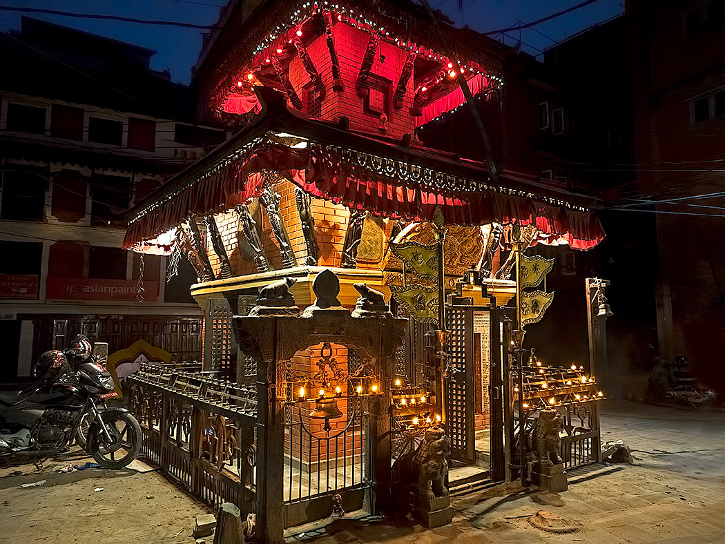 Temple in Kathmandy, Nepal, decked out for the Hindu holy holiday of Dashain
