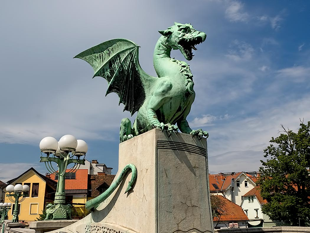 One of four dragons that adorn the Dragon Bridge in Ljubljana, Slovenia. One legend says that the city was founded by Jason, who, along with his Argonauts, slew the dragon. Another legend insists that the dragons wag their tales when a virgin crosses the bridge.