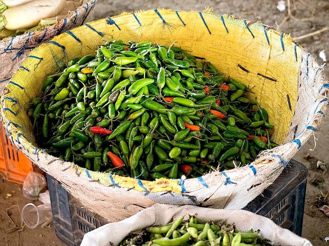 Fresh chiles (khursani) at the Kalimati Fruits and Vegetables Market in Kathmandu, Nepal
