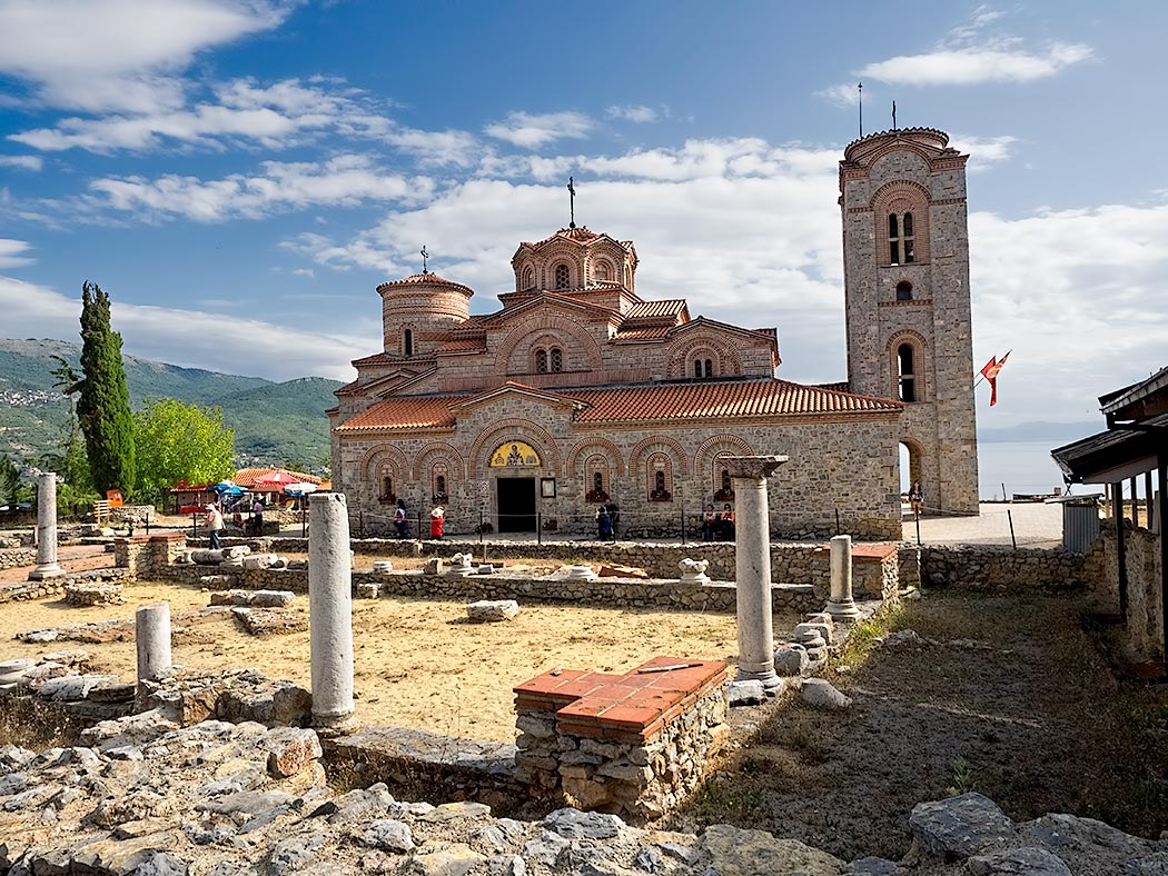 St. Clement and Panteleimon Church sits high on a bluff overlooking Lake Ohrid in Ohrid, Macedonia. It was built in 893 on the foundation of the early Christian basilica known as Plasonik