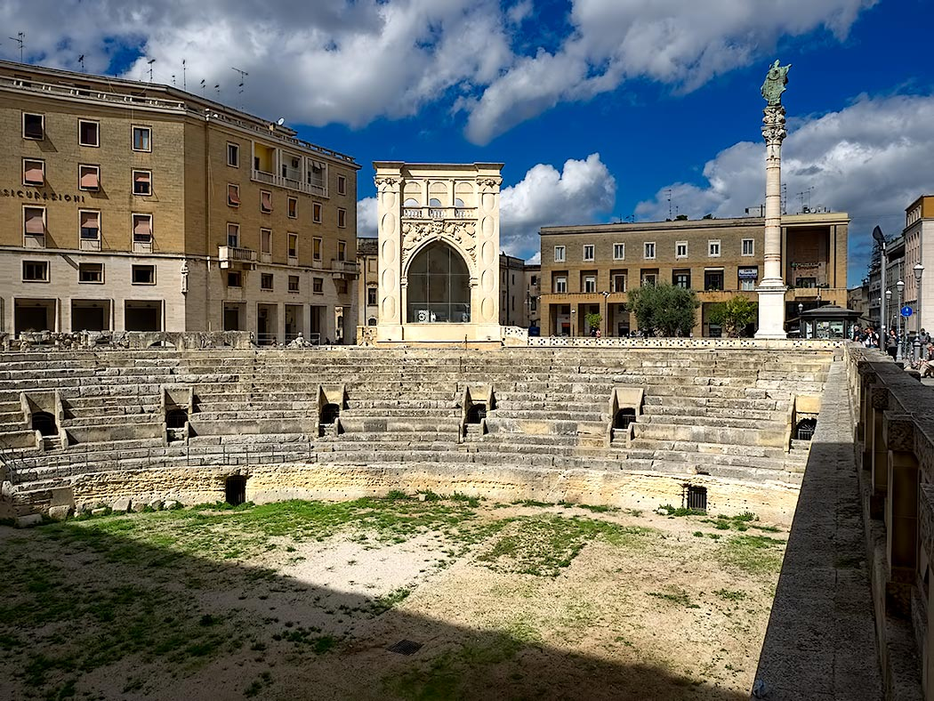 Ruins of a Roman Amphitheatre in Oronzo Piazza in Lecce, Italy, visited during my week-long cooking vacation in Puglia, Italy with Flavours Holidays