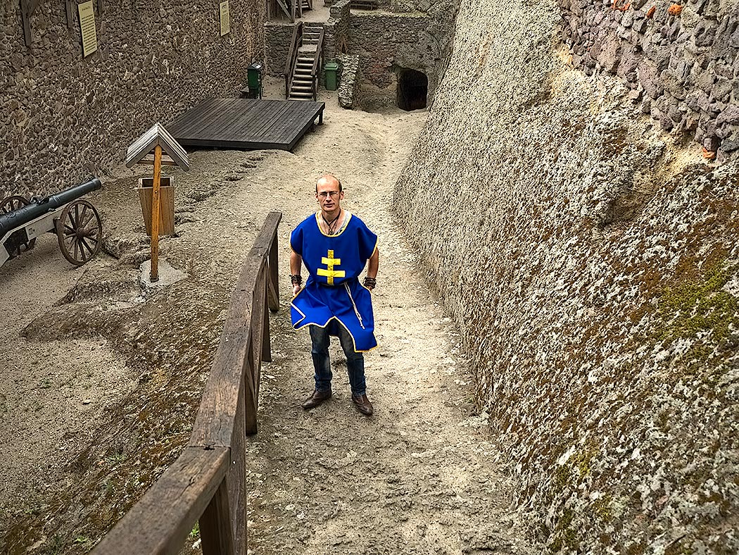 Reenactor portrays a medieval knight at Boldogko Castle, one of the most fascinating castles in Hungary