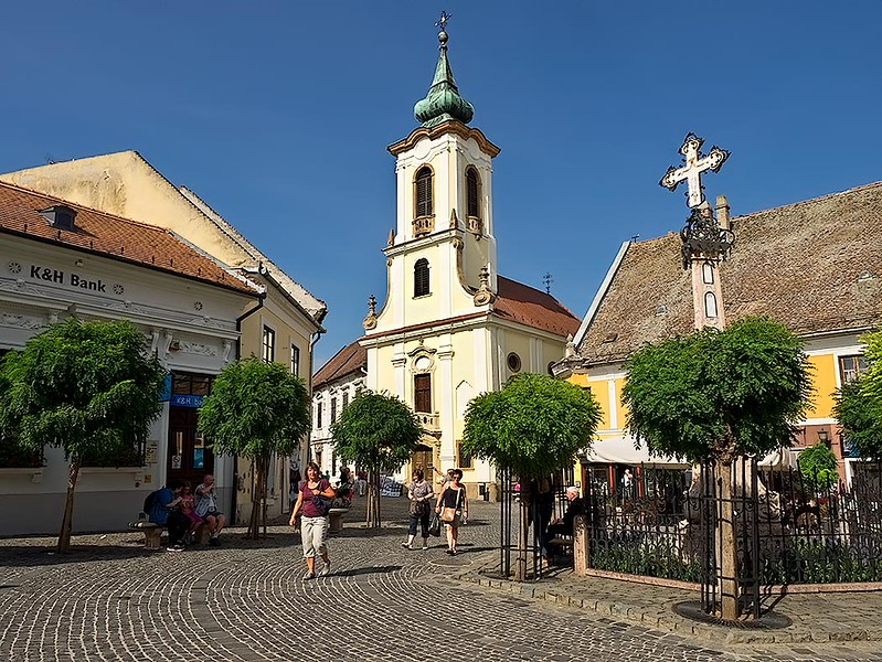 Main square in Szentendre, Hungary, a small village and artists' colony on the Danube River, just north of Budapest