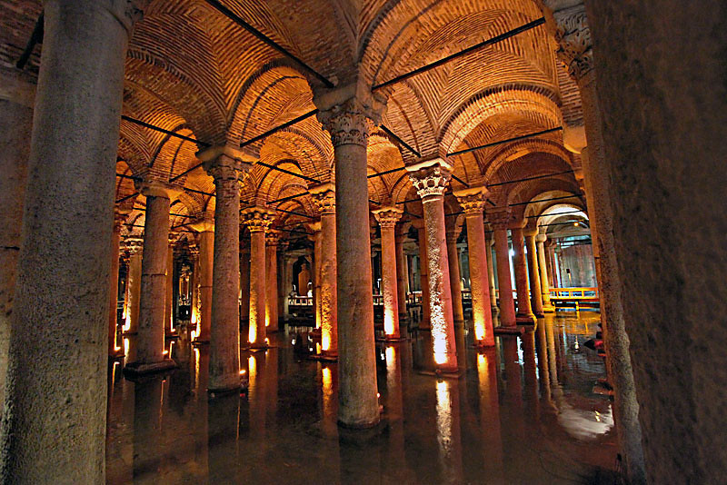 Basilica Cistern provided water filtration storage during Roman times in Istanbul, Turkey