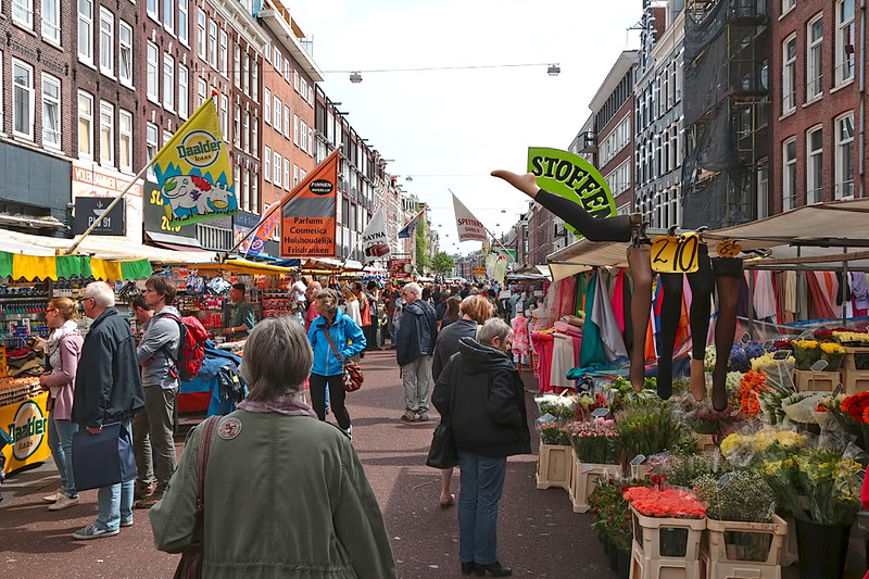 Albert Cuyptmarkt, one of the largest markets in Amsterdam, operates six days a week